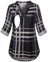 CzzzyL Womens 3/4 Roll Sleeve Breastfeeding Shirt Nursing Tops Plaid Tunic Blouse
