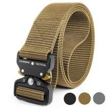 Fairwin Tactical Belt, Military Style Webbing Riggers Web Gun Belt with Heavy-Duty Quick-Release Metal Buckle (Black)