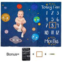 Play Tailor Baby Monthly Milestone Blanket Navy Space 40x50 in Ultra Soft Fleece Newborn Baby Shower Photography Background, Include Frame Blackboard Marker
