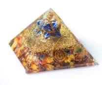 YATHABI Mix Chakra Crystal Orgone Gemstone Pyramid with Lapis Lazuli Merkaba for Chakra Healing Stones EMF Protection Perfect Gift & Home Decor Size:- 60-70 mm Approx