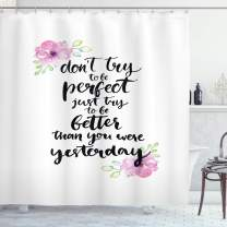 """Ambesonne Motivational Shower Curtain, Motivation Boosting Inspiration Enchanting Words Be Better Than Yesterday, Cloth Fabric Bathroom Decor Set with Hooks, 84"""" Long Extra, Black Rose"""
