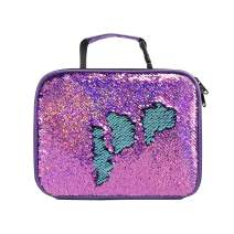 Reversible Sequins Insulated Lunchbox for Girls Violet Lightweight Lunch Containers Bag (Violet/Light Blue)