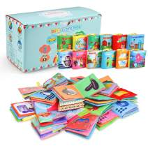 Acekid Baby Cloth Book, 12pcs Soft Stroller Books - Nontoxic, Colorful and Crinkle, Idea for Infants and Toddlers Birthday, Shower, First Year Gift