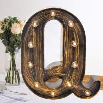 Oycbuzo Golden Black Led Marquee Letter – Industrial, Vintage Style Light Up Alphabet Letter Sign for Cafe Wedding Birthday Party Christmas Lamp Home Bar Initials Decor