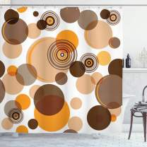 """Ambesonne Earth Tones Shower Curtain, Abstract Pastel Pattern with Overlapping Chaotic Spots and Ring Shapes, Cloth Fabric Bathroom Decor Set with Hooks, 70"""" Long, Orange Brown"""