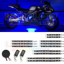 LEDGlow 12pc Advanced Blue LED Motorcycle Accent Neon Underglow Lighting Kit - 4 Patterns - 4 Brightness Levels - Flexible Light Strips - Includes Waterproof Control Box & 2 Wireless Remotes