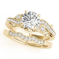 0.60 Ct. Diamond Engagement Bridal Ring Set 14K Solid Yellow Gold