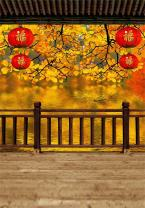 AOFOTO 6x8ft Girl Photography Studio Backdrop Photo Shoot Background Autumn Tree Leaves Railing Retro Red Lantern Blurry Wooden Floor Adult Artistic Portrait Chinese Traditional Scene Video Props