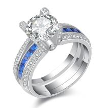 Newshe Wedding Rings for Women Engagement Ring Sets Blue Sapphire Sterling Silver Round Size 5-10