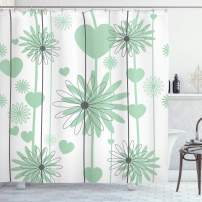 "Lunarable Hearts Shower Curtain, Floral Abstract Striped Background Soft Color Daisies Nature Flourish, Cloth Fabric Bathroom Decor Set with Hooks, 70"" Long, Charcoal Grey"