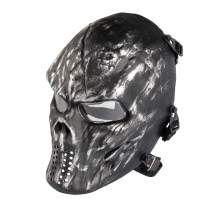 NINAT Airsoft Mask Full Face Skull Tactical Masks Eye Protection for Halloween CS Survival Games Shooting Cosplay Movie Scary Masks Bones Black Silvergrey Wildfire Captain