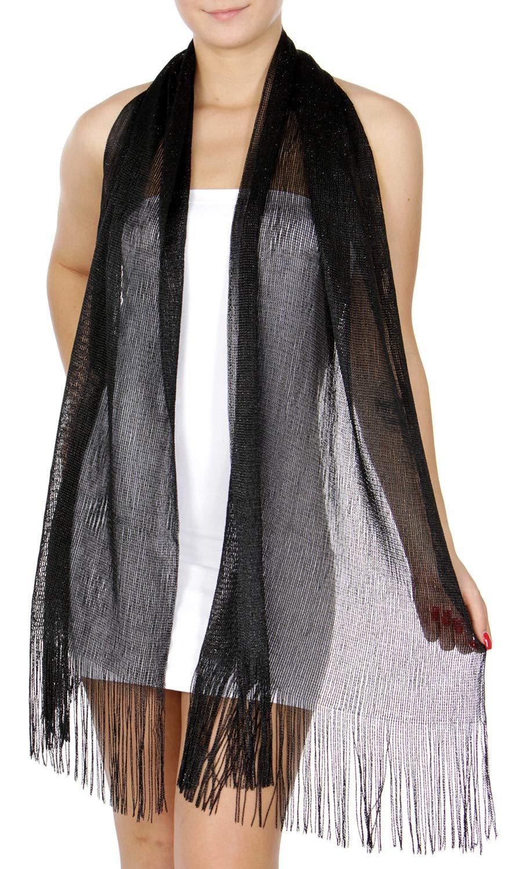 Evening Shawls And Wraps for Dresses, Lightweight Metallic Fishnet Scarf, Black/Black