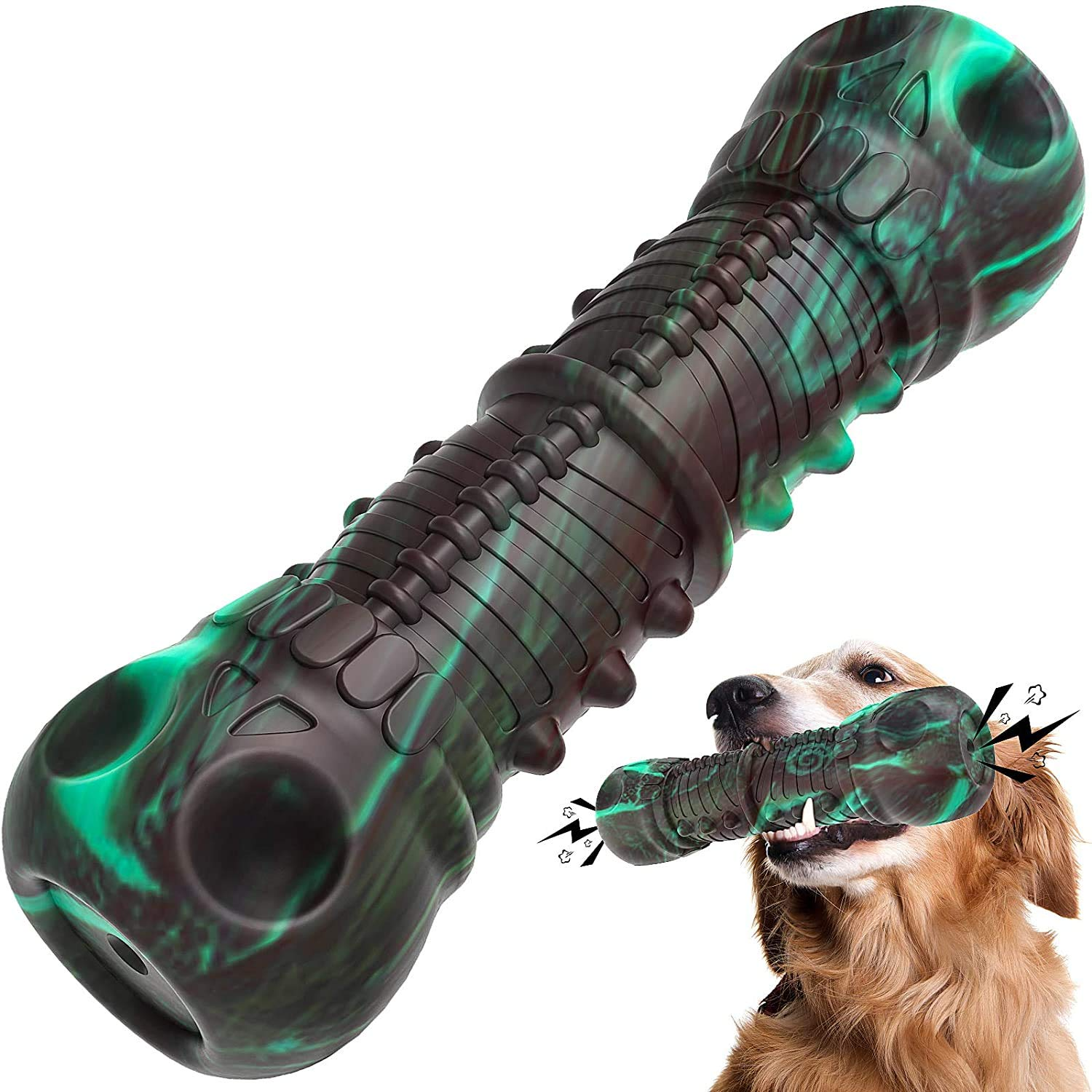 Dog Chew Toys for Aggressive Chewers Large Breed, QDAN Dog Squeaky Toys for Medium Large Dogs,100% Natural Rubber