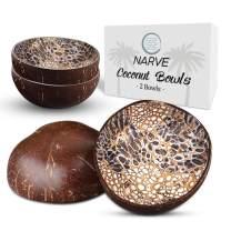 Coconut Bowls | (2 pcs) Natural Coconut Bowl | Candy Dish, Decorative Bowls, Key Dish | Coconut Shell Bowls | Serving Bowl for Desk, Candy Bowls, Nuts, Keys Holder (Black)