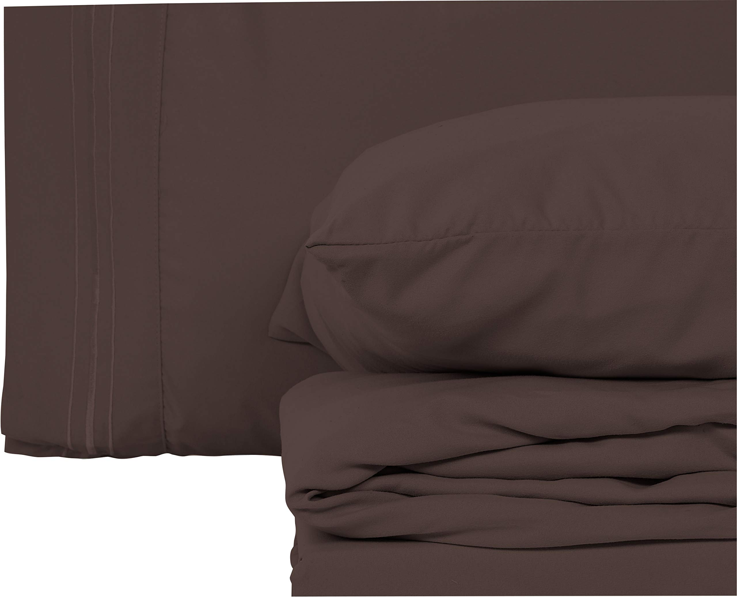 Style Basics Super Soft Brushed Microfiber Bed Sheet Set - 1800 Series Easy-Clean (Brown, Full)