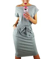 Ru Sweet Women's Casual Pencil Short Sleeve Sheath Belted Dress with Pockets