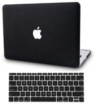 """KECC Laptop Case for MacBook Air 13"""" w/Keyboard Cover Italian Leather Case A1466/A1369 2 in 1 Bundle (Dark Black Leather)"""
