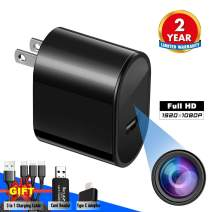 Spy Camera USB Phone Charger by Elleety -1080p HD Hidden Camera, Wall Plug USB Charger [Motion Detection, AC Adapter] Nanny Camera |Home, Kids, Baby, Pet Monitoring cam