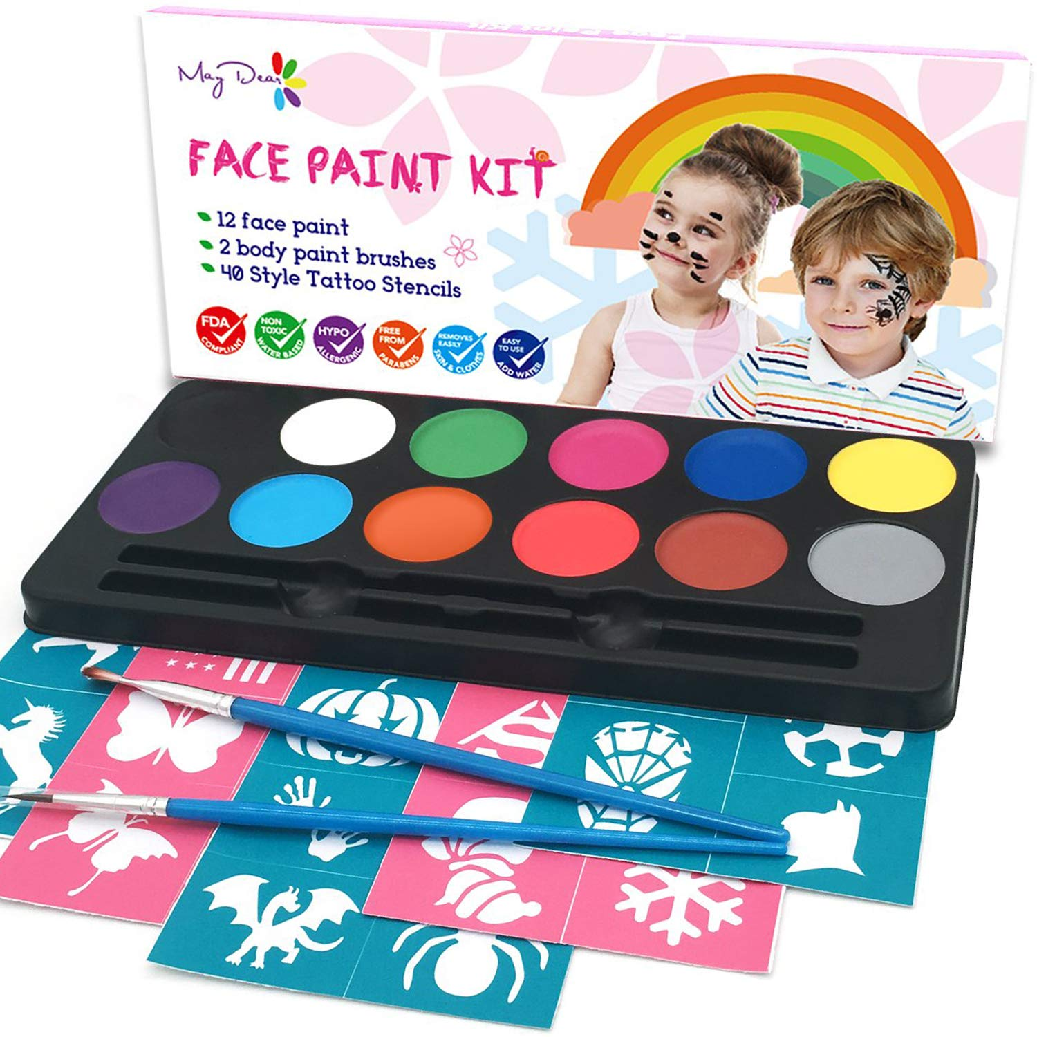 Maydear Face Paint Kit for Kids 12 Color Washable Paints 40 Stencils and 2 Brushes Halloween Makeup Face Painting Party Supplies Professional Face Paint Safe for Sensitive Skin