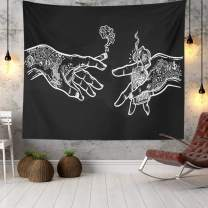 Wall Tapestry White and Black Floral Hands, Psychedelic Trippy Hippie Boho Novelty Tapestry Wall Hanging, Art Decor Print Fabric for Bedroom Living Room College Dorm,60×52 inch (150×130 cm)