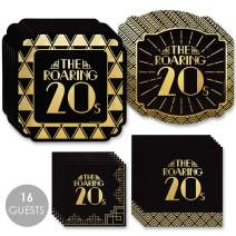 Big Dot of Happiness Roaring 20's with Gold Foil - 2020 Graduation and Prom Party Supplies - 1920s Art Deco Jazz Party Tableware Plates and Napkins - Bundle for 16