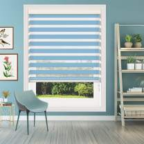 Keego Window Blinds Custom Cut to Size, Sky Blue Zebra Blinds with Dual Layer Roller Shades, [Size W 34 x H 48] Dual Layer Sheer or Privacy Light Control for Day and Night