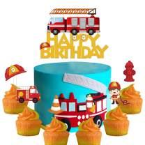Set of Acrylic Firefighter Themed Happy Birthday Cake Topper, Fireman Cake Topper, Fireman Birthday Party Decoration, Boy Kids Party Favor ( 7PCS )