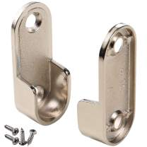 HWMATE 2-Pack Silver Thickening Nickel Plated Zinc Alloy Clothes Rod Holder End Support for Closet