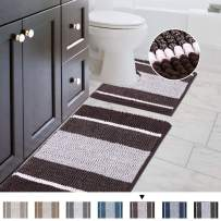 """Striped Shag Chenille Bathroom Rug Toilet Sets and Shaggy Water-Absorbent Non Slip Machine Washable Soft Microfiber Ombre Bath Contour Mat (Chocolate,32"""" 20""""/20"""" 20"""" U-Shaped)"""