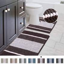 "Striped Shag Chenille Bathroom Rug Toilet Sets and Shaggy Water-Absorbent Non Slip Machine Washable Soft Microfiber Ombre Bath Contour Mat (Chocolate,32"" 20""/20"" 20"" U-Shaped)"