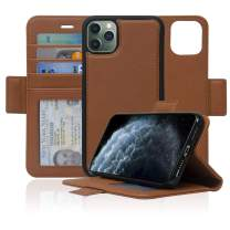 Navor Detachable Magnetic Wallet Case with RFID Protection Compatible for iPhone 11 Pro Max [6.5 inch] [Vajio Series] - Brown [IP11PMXVJBR]