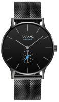 VAVC Men's Black Fashion Casual Simple Analog Quartz Dress Waterproof Wrist Watch with Black Stainless Steel Mesh Band