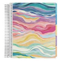 Erin Condren 12 - Month 2020-2021 Layers Colorful Coiled Life Planner with Flower Power Interior (July 2020 - June 2021) Hourly Layout. Organizer, Monthly Calendar Tabs and Stickers