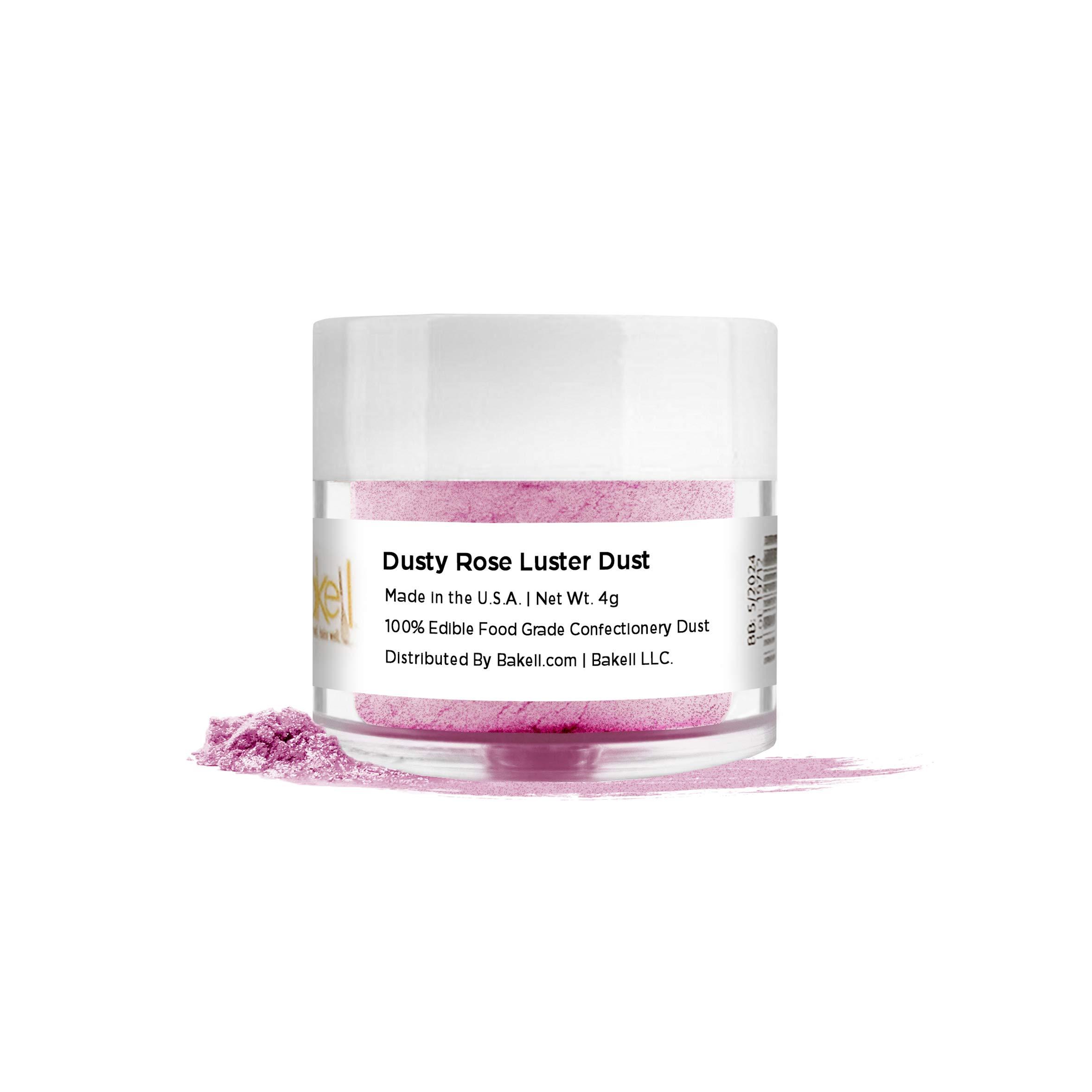 BAKELL Dusty Rose Edible Luster Dust & Paint, 4 Gram | LUSTER DUST Edible Powder | FDA Approved Paint, Powder & Dust | 100% Edible & Food Grade| Cakes, Cupcakes, Vegan Paint & Dust (Dusty Rose)