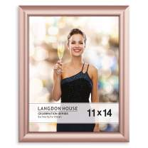 Langdon House 11x14 Picture Frame (1 Pack, Rose Gold), Rose Gold Photo Frame 11 x 14, Wall Mount or Table Top, Celebration Collection