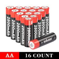 AA Batteries Rechargeable, Soluser Rechargeable AA Batteries 2800mAh AA High-Capacity AA Rechargeable Batteries 1.2V Ni-MH Low Self Discharge 16-Pack