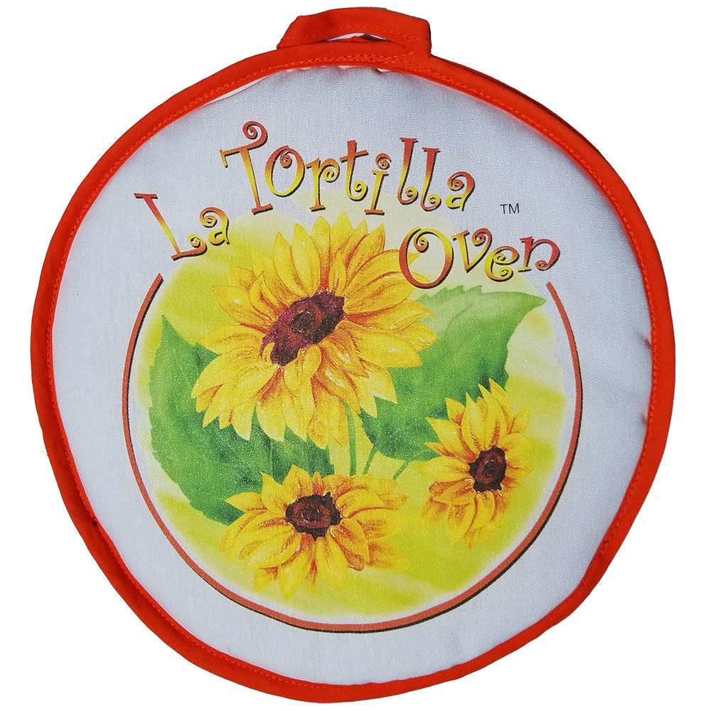 """CLEARANCE SALE! 12"""" LARGE Sunflowers Tortilla Warmer. This Premium INSULATED tortilla pouch keeps corn & flour tortillas warm from the skillet, pan, grill or microwave!"""