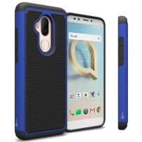 TMobile REVVL 2 Plus Case, Alcatel 7 Case, CoverON HexaGuard Series Dual Layer Hybrid Heavy Duty Tough Protective Phone Case with Shockproof Protection - Blue on Black