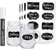 96 Premium Chalkboard Labels with Erasable White Chalk Marker Included - Chalk Board Mason Jar Labels - Removable Blackboard Sticker Label for Jars