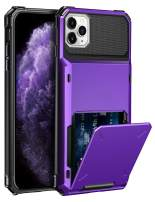 ELOVEN Case for iPhone 11 Pro Case Wallet with Card Holder Card Slot Hidden Credit Card ID Cover Shock Absorption Heavy Duty Drop Protection Rugged Bumper Protective Cover for iPhone 11 Pro,Purple