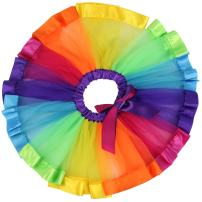 Jastore Girls Layered Rainbow Tutu Skirt Dance Dress Ruffle Tiered Clubwear