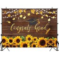 Allenjoy 8x6ft Soft Durable Graduation Party Backdrop Class of 2019 Golden Bachelor Cap Sunflower Decorations Rustic Wood Photography Background Congrats Grad Prom Banner Photo Booth Props