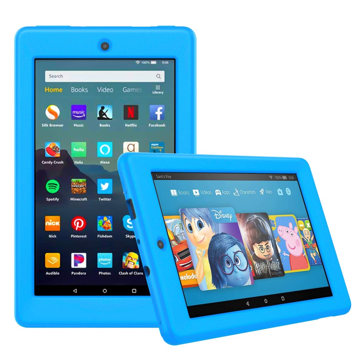 MoKo Case Fits All-New Amazon Fire 7 Tablet (9th Generation, 2019 Release), Ultra-Flexible Silicone Protective Lightweight Shockproof Impact-Resistant Back Cover Shell - Blue
