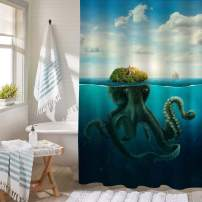 Fantasy Spooky Island Seascape Bathtub Shower Decorations, Disguised Giant Octopus at Surfeace of Ocean Bath Curtain Set with Hooks, Machine Washable Cloth, Green Blue, 50 x 78 Stall Shower Curtain