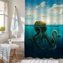 Fantasy Spooky Island Seascape Bathtub Shower Decorations, Disguised Giant Octopus at Surfeace of Ocean Bath Curtain Set with Hooks, Machine Washable Cloth, Green Blue, 54 x 78 Stall Shower Curtain