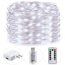 HSicily USB Plug in Fairy Lights with Remote Control Timer, 8 Modes 40ft 120 LED USB String Lights with Adapter,Cold White LED Twinkle Lights for Christmas Bedroom Indoor Decoration