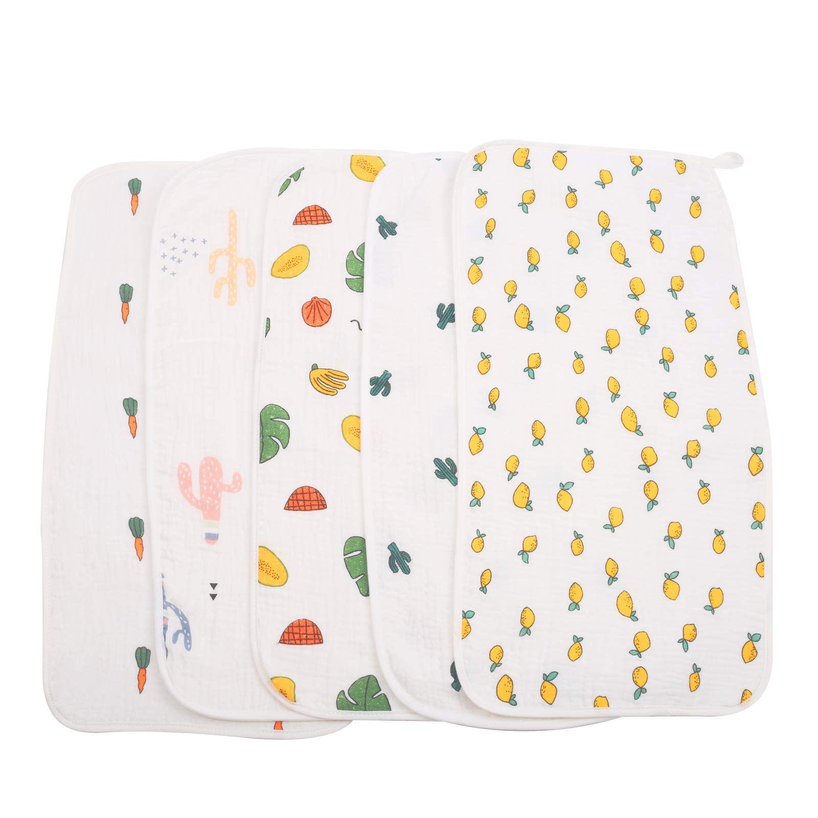 Muslin Baby Burp Cloths 5 Pack Burp Cloth Sets for Unisex 20 by 10 Inches 4 Layers Baby Burping Rags for Boys and Girls