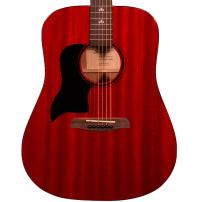 Sawtooth Left Handed Modern Vintage Dreadnought Acoustic Guitar, Trans Cherry Red