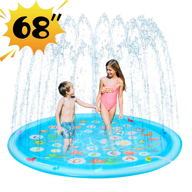 "Wevon Splash Pad, 68"" Sprinkle Play Mat, Sprinkler Pad for Kids, Sprinkler Pool for Children, Outdoor Water Toys, Learning Educational Wading Pool for Toddlers Boys Girls"