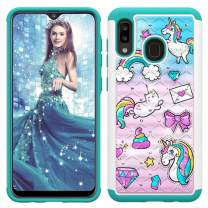 Lantier Heavy Duty Glitter Bling Hybrid Dual Layer 2 in 1 Hard Cover Soft TPU Impact Armor Defender Protective Shockproof Diamond Case for Samsung Galaxy A30/A20 Unicorn